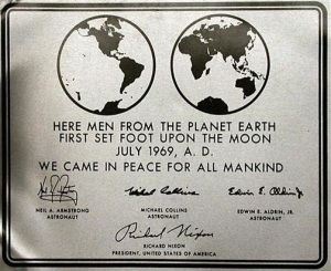 The commemorative plaque left on the Moon in July 1969 features text set in Futura.